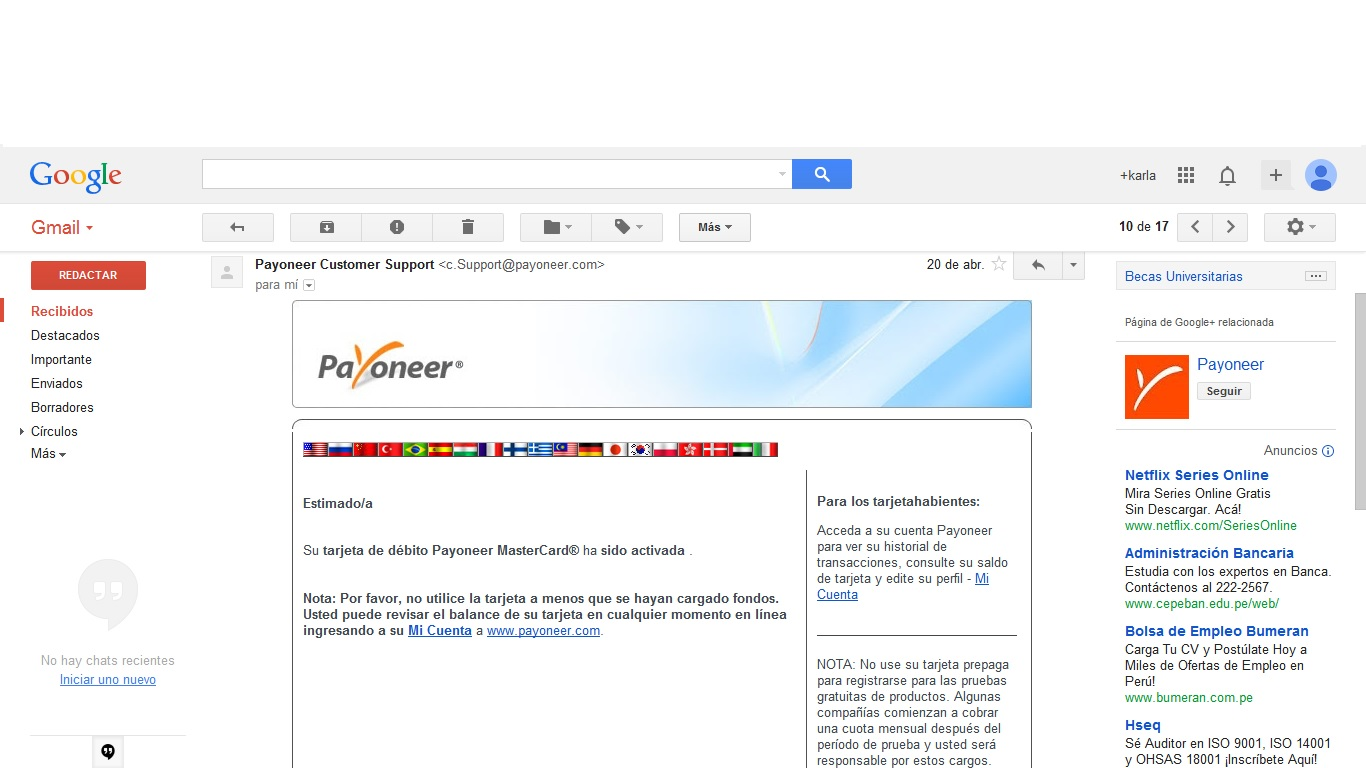 Cuenta Payoneer